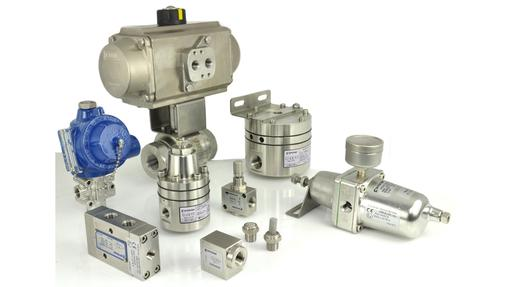ball valve with pneumatic actuator and a selection of pneumatic automation products