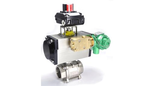 threaded ball valve with pneumatic actuator, switch box and pilot solenoid valve