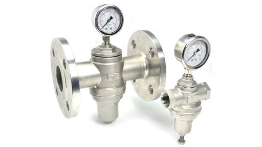 "RET REF series pressure reducing valves 316 stainless steel sizes 1/2"" to 6"" flanged"